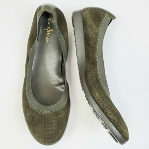 Cole Haan Olive Green Perforated Ballet Flat 8.5